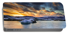 sunset at Jokulsarlon iceland Portable Battery Charger