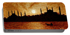 Portable Battery Charger featuring the painting Sunset Over Istanbul Original Coffee Painting by Georgeta  Blanaru