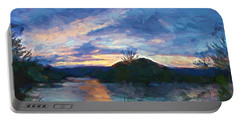 Sunset Pano - Watauga Lake Portable Battery Charger by Tom Culver