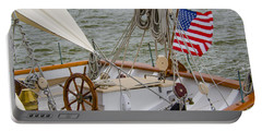 Tall Ship Wheel Portable Battery Charger by Dale Powell