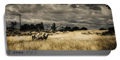 Tasmania Landscape Of An Outback Cattle Station Portable Battery Charger