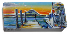 Portable Battery Charger featuring the painting Tauranga Marina 180412 by Selena Boron