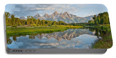 Teton Range Reflected In The Snake River Portable Battery Charger