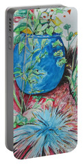 Portable Battery Charger featuring the painting The Blue Flower Pot by Esther Newman-Cohen