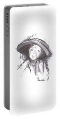 Portable Battery Charger featuring the drawing The Bonnet by Laurie L