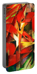 Portable Battery Charger featuring the painting The Foxes by Franz Marc