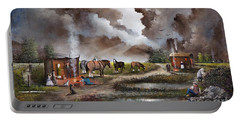 Portable Battery Charger featuring the painting The Horse Traders by Ken Wood