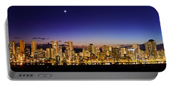 The Moon And Venus Over Honolulu Portable Battery Charger