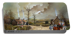 Portable Battery Charger featuring the painting The Smithy by Ken Wood