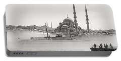 The Yeni Mosque In Fog Portable Battery Charger