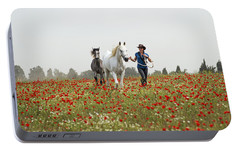 Portable Battery Charger featuring the photograph Three At The Poppies' Field... 3 by Dubi Roman