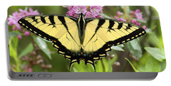 Tiger Swallowtail Butterfly On Milkweed Flowers Portable Battery Charger