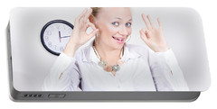 Time Management Woman Showing Ok When On Schedule Portable Battery Charger