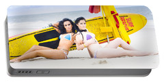 Two Beautiful Women Together On Beach Portable Battery Charger