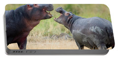 Two Hippopotamuses Hippopotamus Portable Battery Charger by Panoramic Images