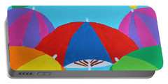 Portable Battery Charger featuring the painting Umbrellas by Deborah Boyd