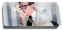 Unhappy Nerd Businessman Yelling Down Retro Phone Portable Battery Charger