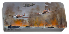 Portable Battery Charger featuring the painting Utah Beach- June 6th 1944 by Ken Wood