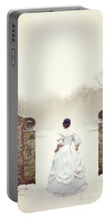 Victorian Woman In Snow Portable Battery Charger