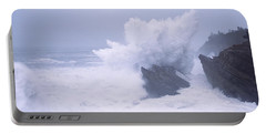 Waves Breaking On The Coast, Shore Portable Battery Charger by Panoramic Images