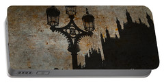 Portable Battery Charger featuring the digital art Westminster Silhouette by Matt Malloy