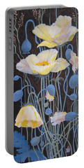 White Poppies Portable Battery Charger
