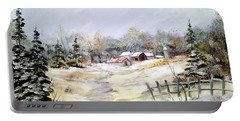 Winter At The Farm Portable Battery Charger by Dorothy Maier