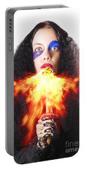 Woman Breathing Fire From Mouth Portable Battery Charger