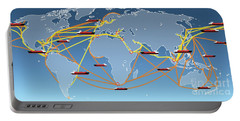 World Shipping Routes Map Portable Battery Charger