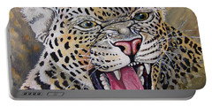 Portable Battery Charger featuring the painting Yawn by Anthony Mwangi