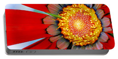 Portable Battery Charger featuring the photograph Zinnia In Red by Wendy Wilton