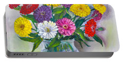 Old Fashioned Zinnias Portable Battery Charger