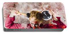 Zombie In Fire Holding Clock. Out Of Time Portable Battery Charger