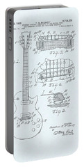 Guitar Patent Drawing On Blue Background Portable Battery Charger