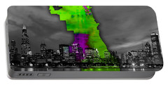 Chicago Map And Skyline Watercolor Portable Battery Charger