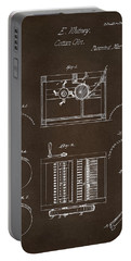 Portable Battery Charger featuring the drawing 1794 Eli Whitney Cotton Gin Patent Espresso by Nikki Marie Smith