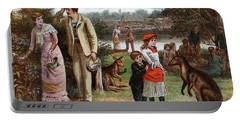 1800s 1880s 1881 Summer Picnic Scene Portable Battery Charger