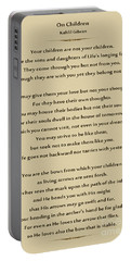 184- Kahlil Gibran - On Children Portable Battery Charger by Joseph Keane