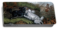 1860s Two Spaniel Dogs Flushing Portable Battery Charger
