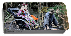 1870 Geisha Girls Traveling In Rickshaw Portable Battery Charger by Historic Image