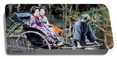 1870 Geisha Girls Traveling In Rickshaw Portable Battery Charger