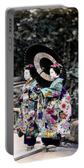 1870 Two Geisha Girls Under Umbrella Portable Battery Charger by Historic Image