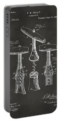 1883 Wine Corckscrew Patent Artwork - Gray Portable Battery Charger
