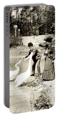 1890 Feeding Swans In Paris Portable Battery Charger by Historic Image