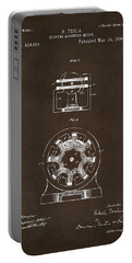 Portable Battery Charger featuring the drawing 1890 Tesla Motor Patent Espresso by Nikki Marie Smith