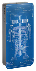 Portable Battery Charger featuring the drawing 1894 Tesla Electric Generator Patent Blueprint by Nikki Marie Smith