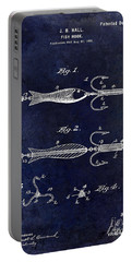 1900 Fishing Hook Patent Drawing Blue Portable Battery Charger