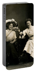 1905 Beer Drinking Girlfriends Portable Battery Charger by Historic Image