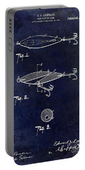 1909 Fishing Lure Patent Drawing Blue Portable Battery Charger