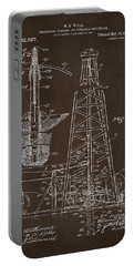 Portable Battery Charger featuring the drawing 1911 Oil Drilling Rig Patent Artwork - Espresso by Nikki Marie Smith